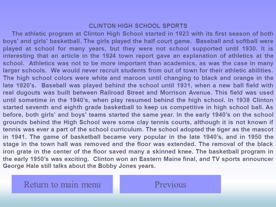 CLINTON HIGH SCHOOL SPORTS