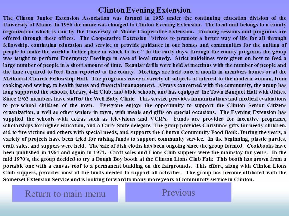 Clinton Evening Extension