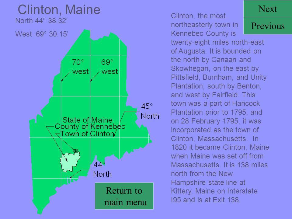 Clinton, Maine Next Previous Return to main menu