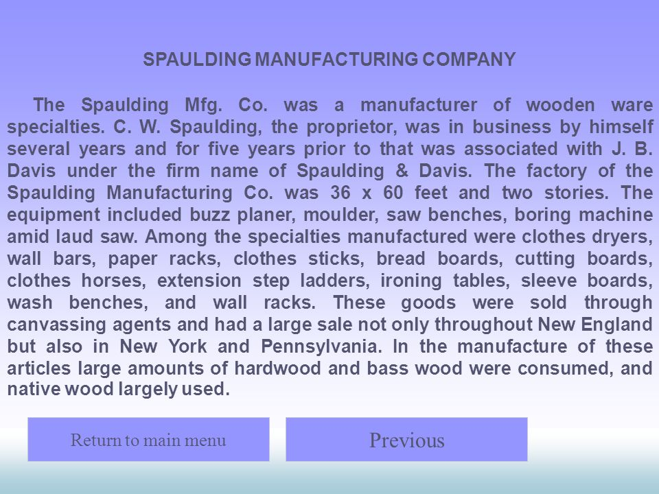 SPAULDING MANUFACTURING COMPANY