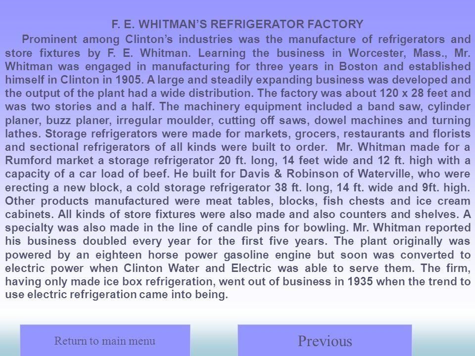 F. E. WHITMAN'S REFRIGERATOR FACTORY
