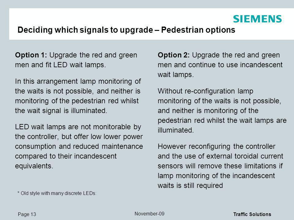 Deciding which signals to upgrade – Pedestrian options