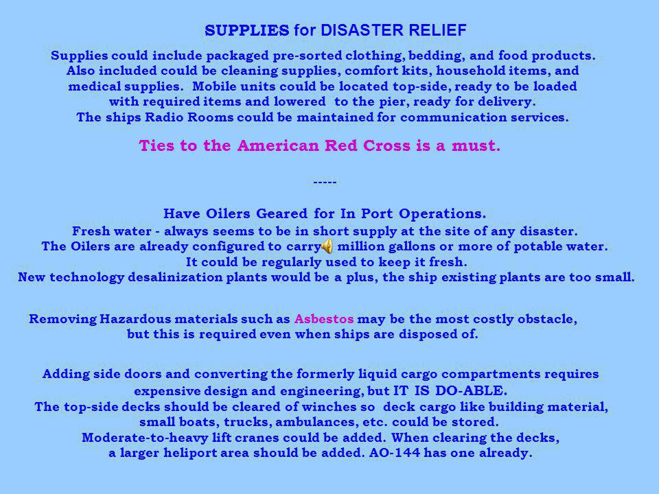 SUPPLIES for DISASTER RELIEF