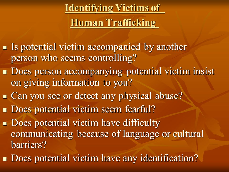 Identifying Victims of Human Trafficking