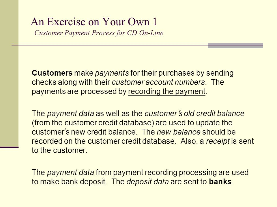 An Exercise on Your Own 1 Customer Payment Process for CD On-Line