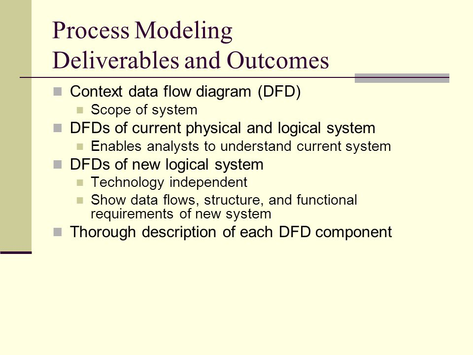 Process Modeling Deliverables and Outcomes