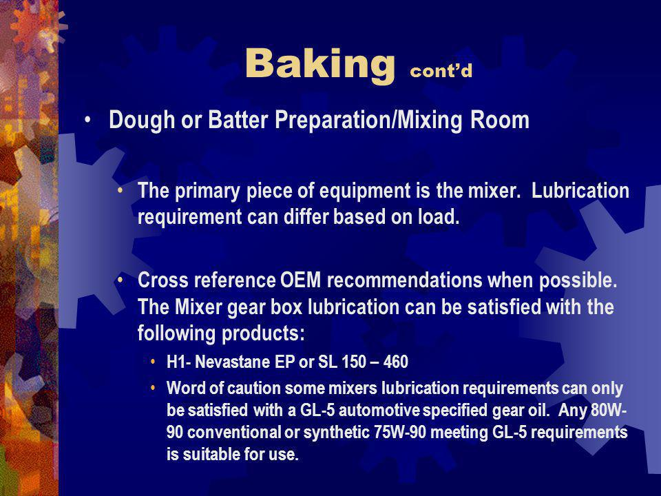 Baking cont'd Dough or Batter Preparation/Mixing Room