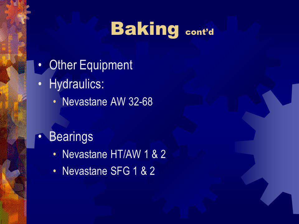 Baking cont'd Other Equipment Hydraulics: Bearings Nevastane AW 32-68