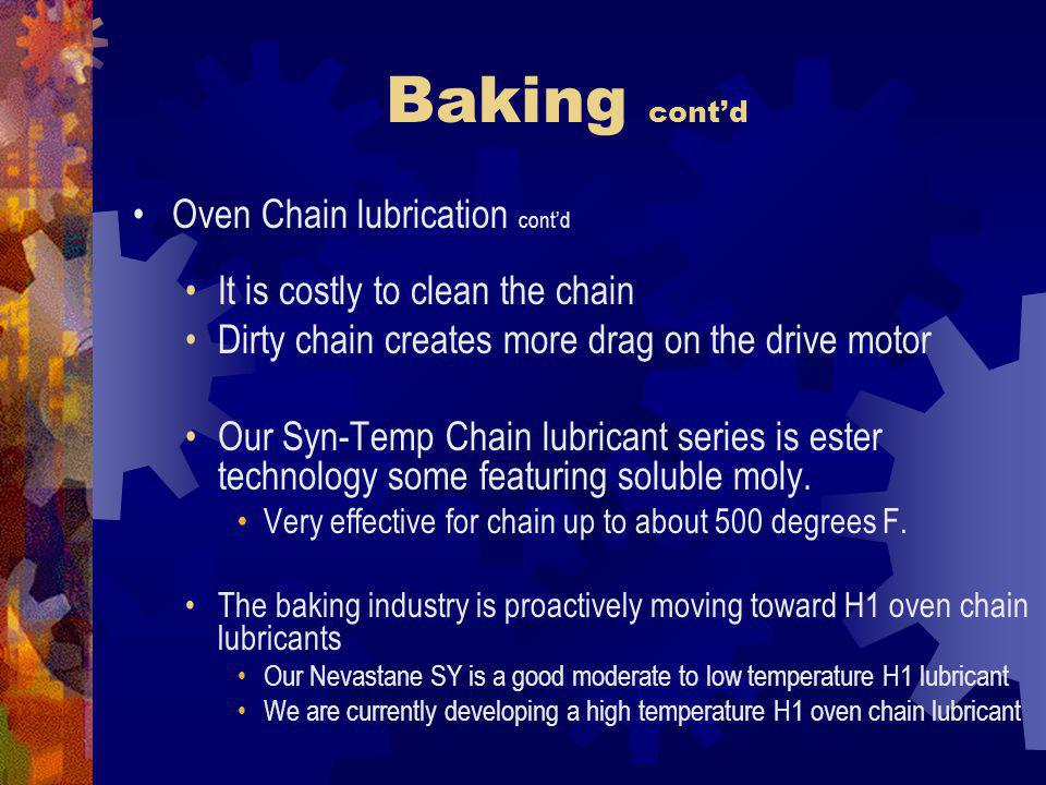 Baking cont'd Oven Chain lubrication cont'd