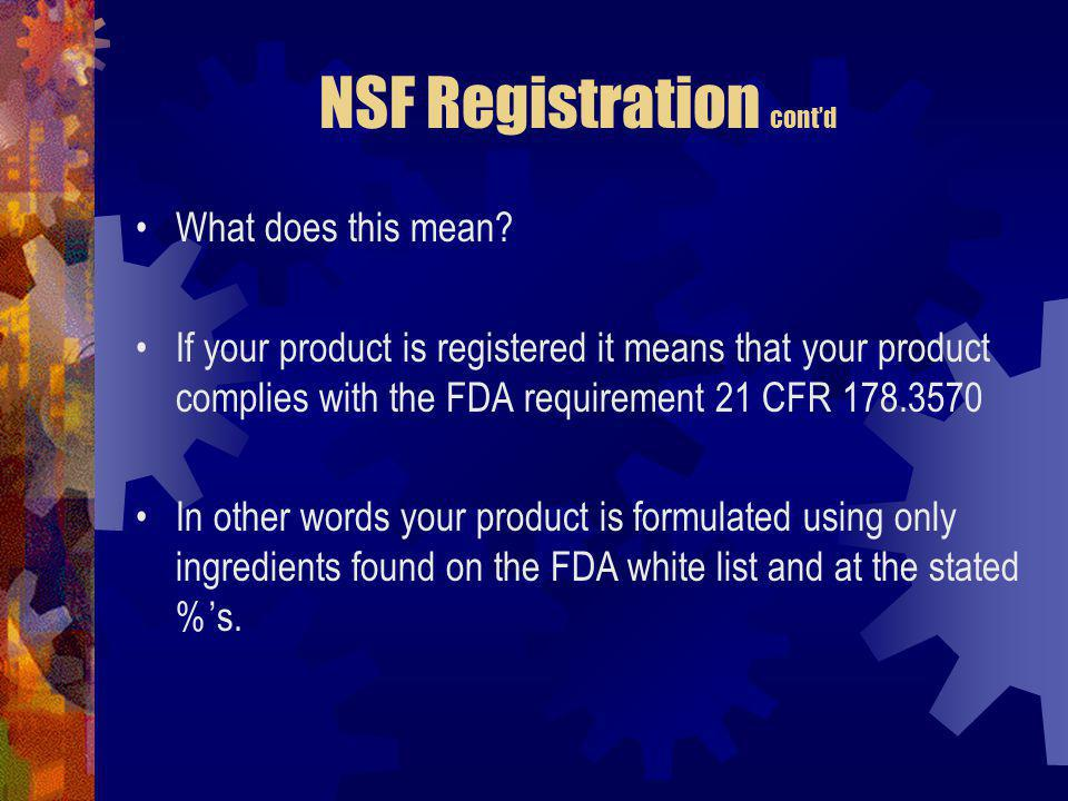 NSF Registration cont'd