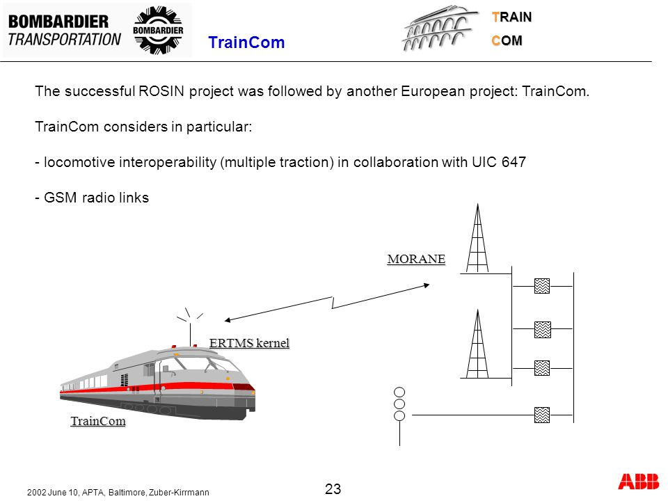 TRAIN COM. TrainCom. The successful ROSIN project was followed by another European project: TrainCom.
