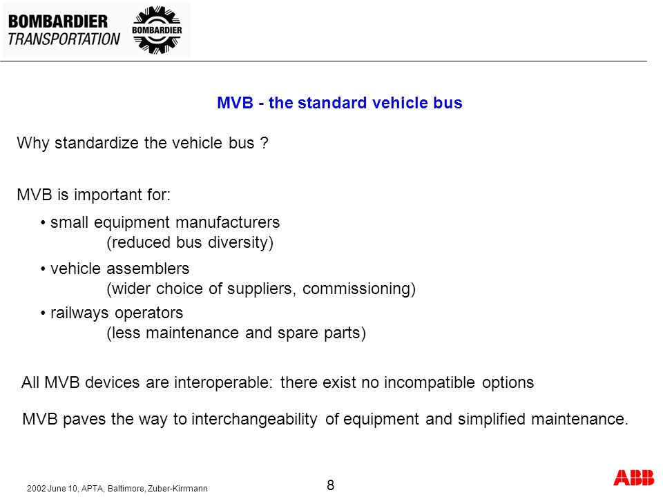 MVB - the standard vehicle bus