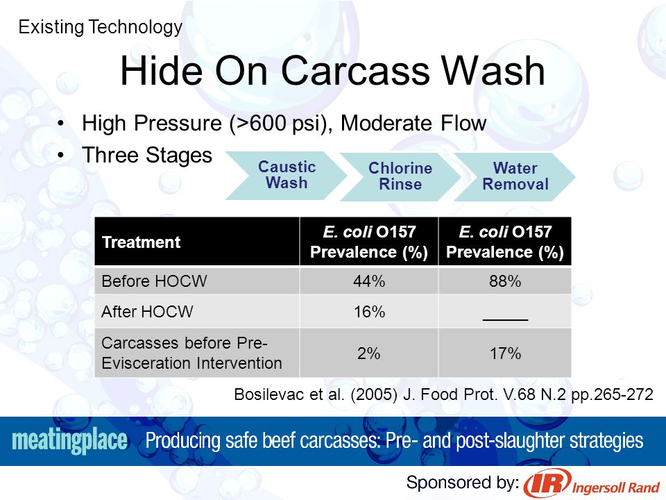 Hide On Carcass Wash High Pressure (>600 psi), Moderate Flow