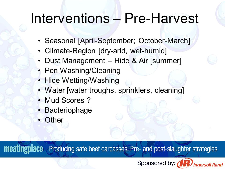 Interventions – Pre-Harvest