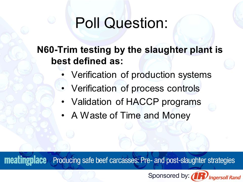 Poll Question: N60-Trim testing by the slaughter plant is best defined as: Verification of production systems.