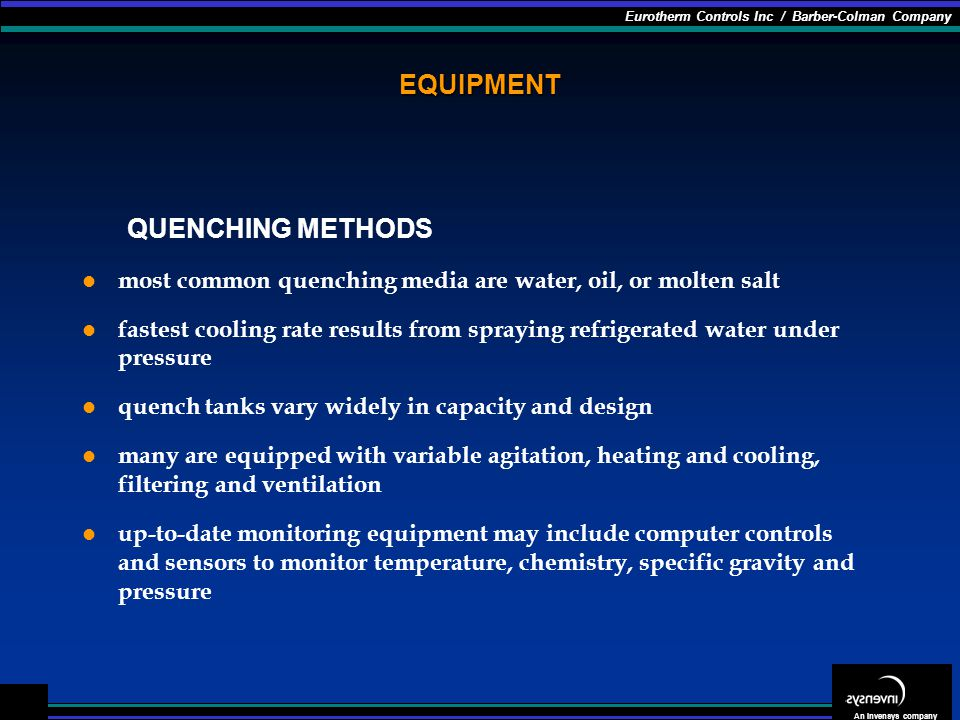 EQUIPMENT QUENCHING METHODS
