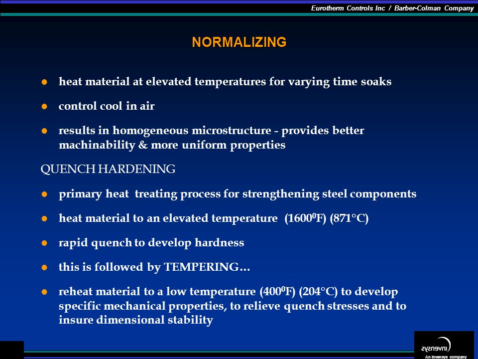 NORMALIZING heat material at elevated temperatures for varying time soaks. control cool in air.