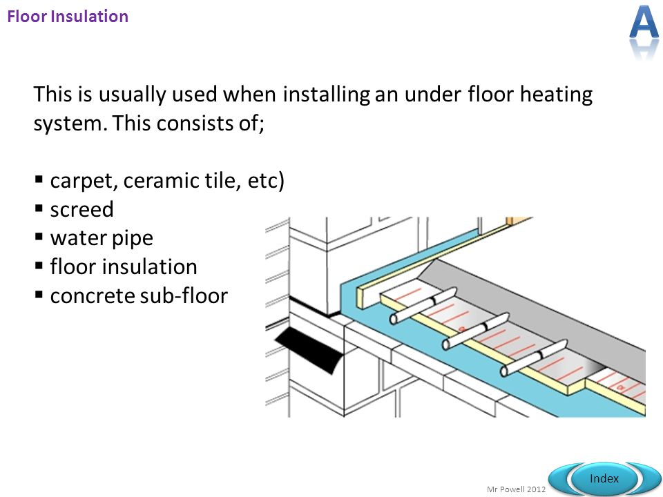 A Floor Insulation. This is usually used when installing an under floor heating system. This consists of;