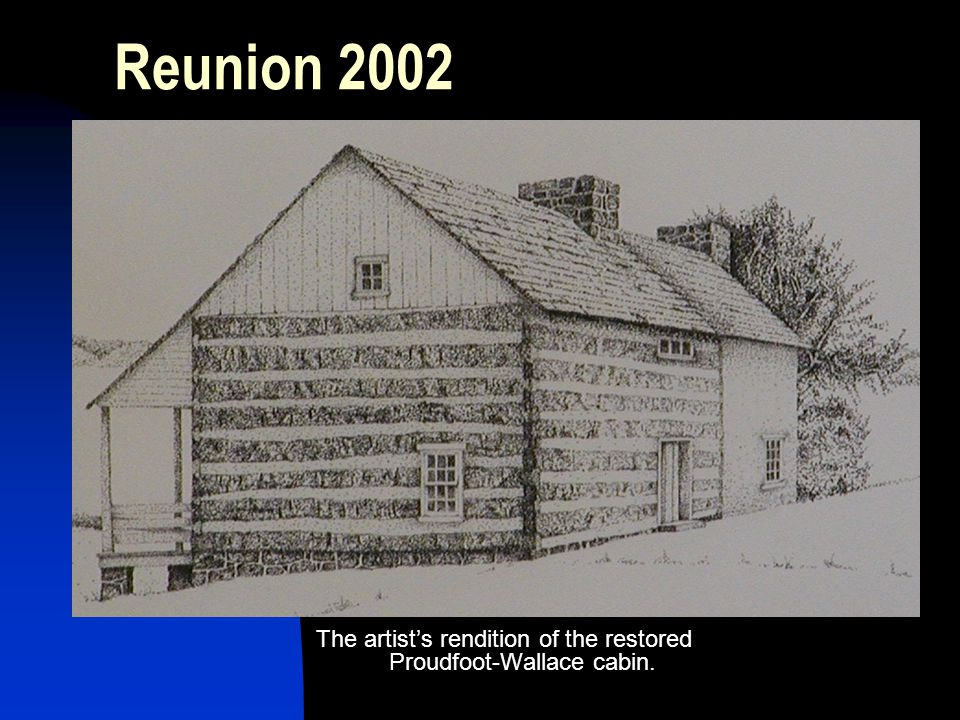 The artist's rendition of the restored Proudfoot-Wallace cabin.
