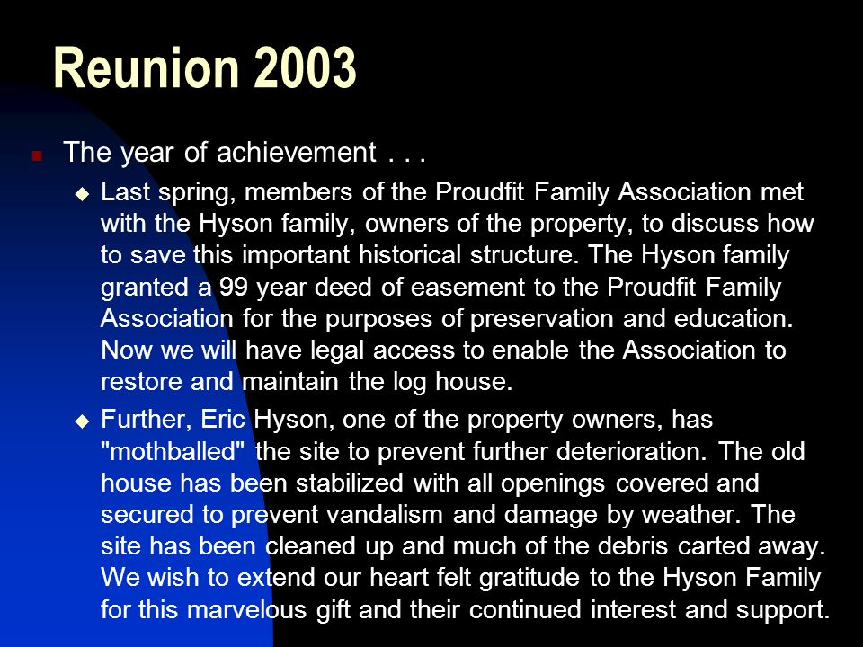 Reunion 2003 The year of achievement . . .