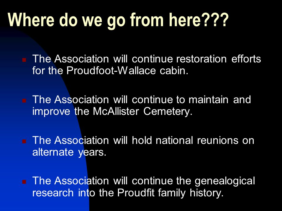 Where do we go from here The Association will continue restoration efforts for the Proudfoot-Wallace cabin.