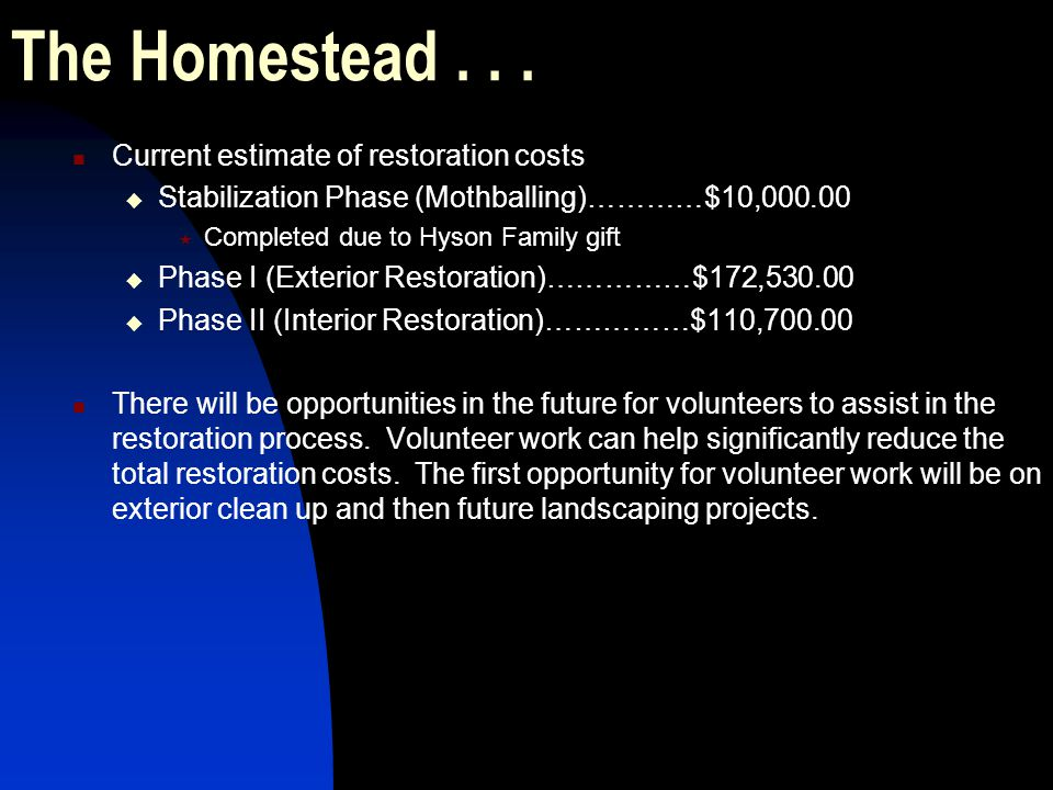 The Homestead . . . Current estimate of restoration costs