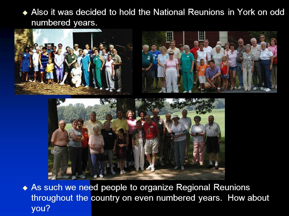 Also it was decided to hold the National Reunions in York on odd numbered years.