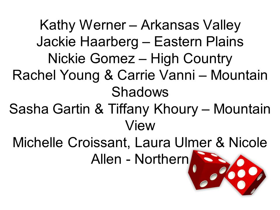 Kathy Werner – Arkansas Valley Jackie Haarberg – Eastern Plains Nickie Gomez – High Country Rachel Young & Carrie Vanni – Mountain Shadows Sasha Gartin & Tiffany Khoury – Mountain View Michelle Croissant, Laura Ulmer & Nicole Allen - Northern