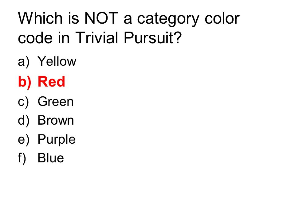Which is NOT a category color code in Trivial Pursuit