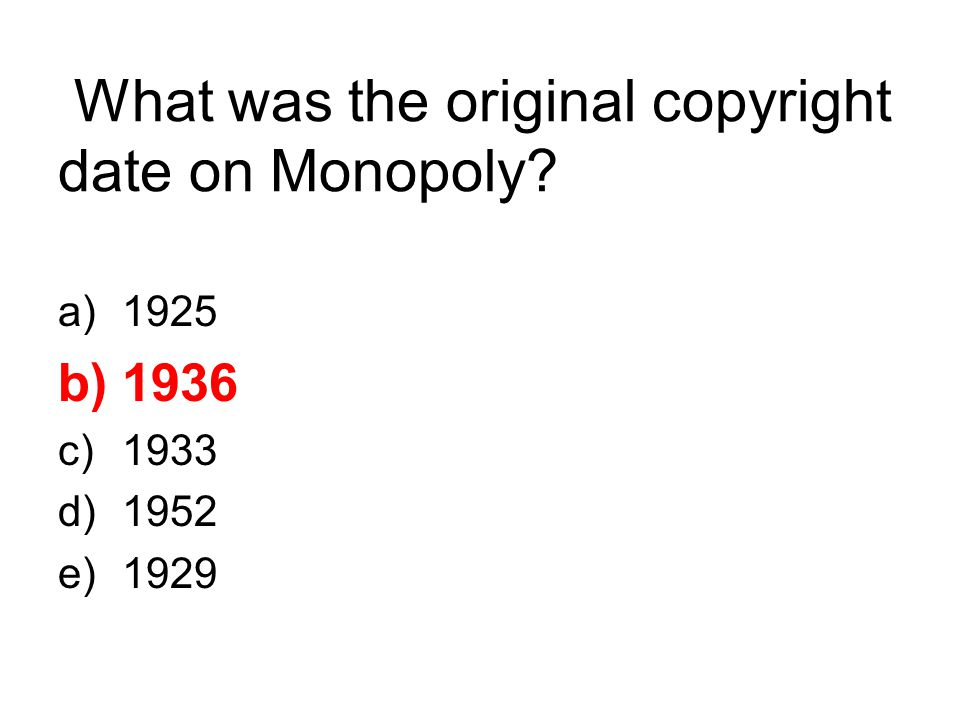 What was the original copyright date on Monopoly