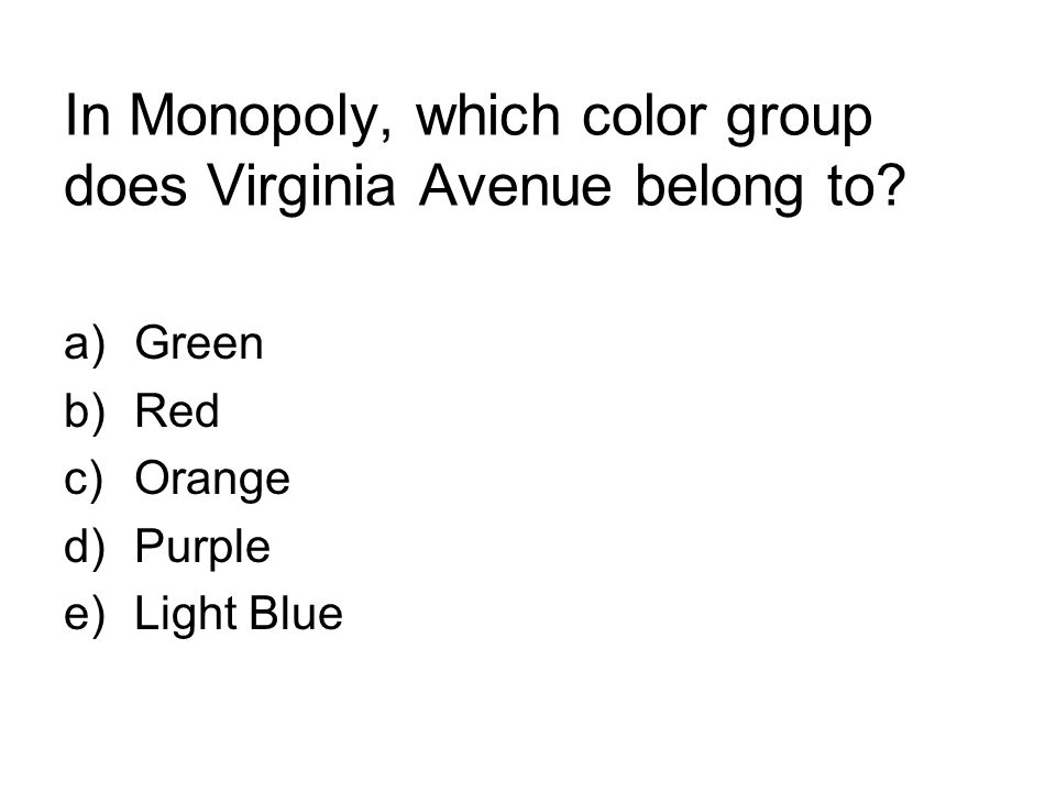 In Monopoly, which color group does Virginia Avenue belong to