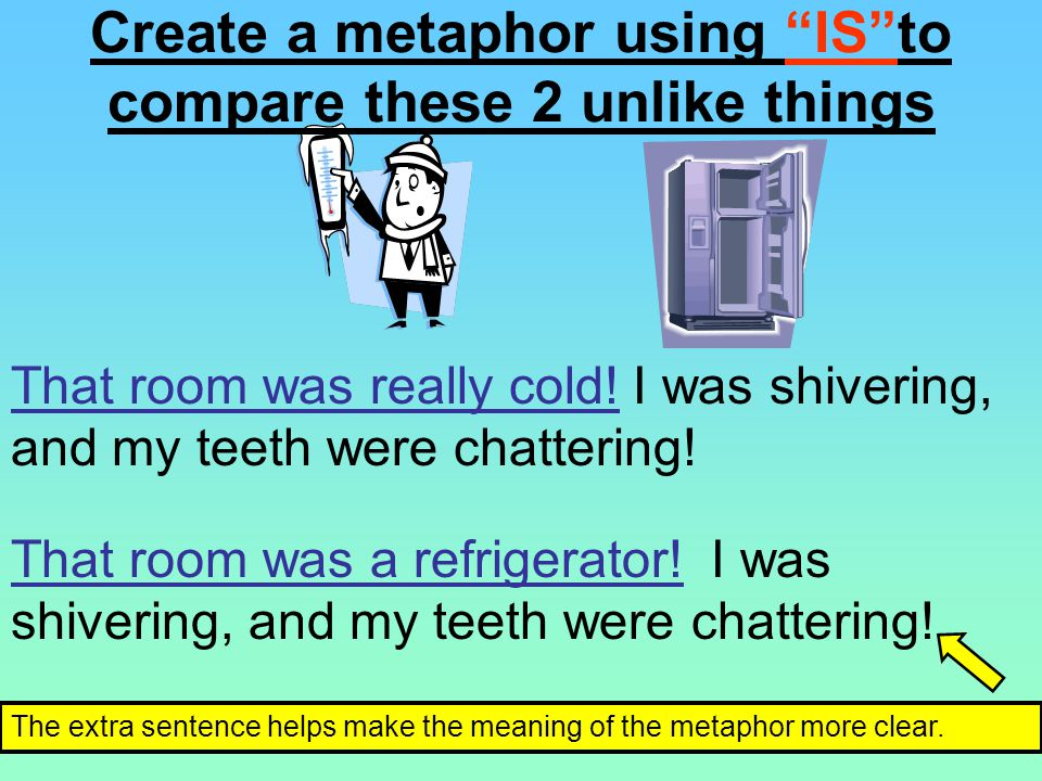 Create a metaphor using IS to compare these 2 unlike things