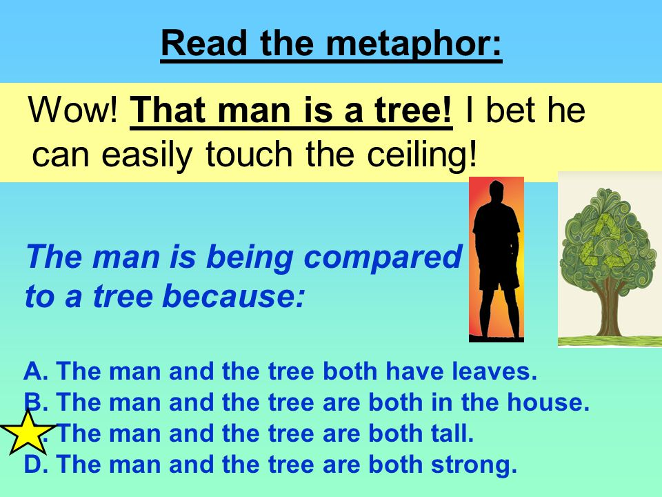 Wow! That man is a tree! I bet he can easily touch the ceiling!