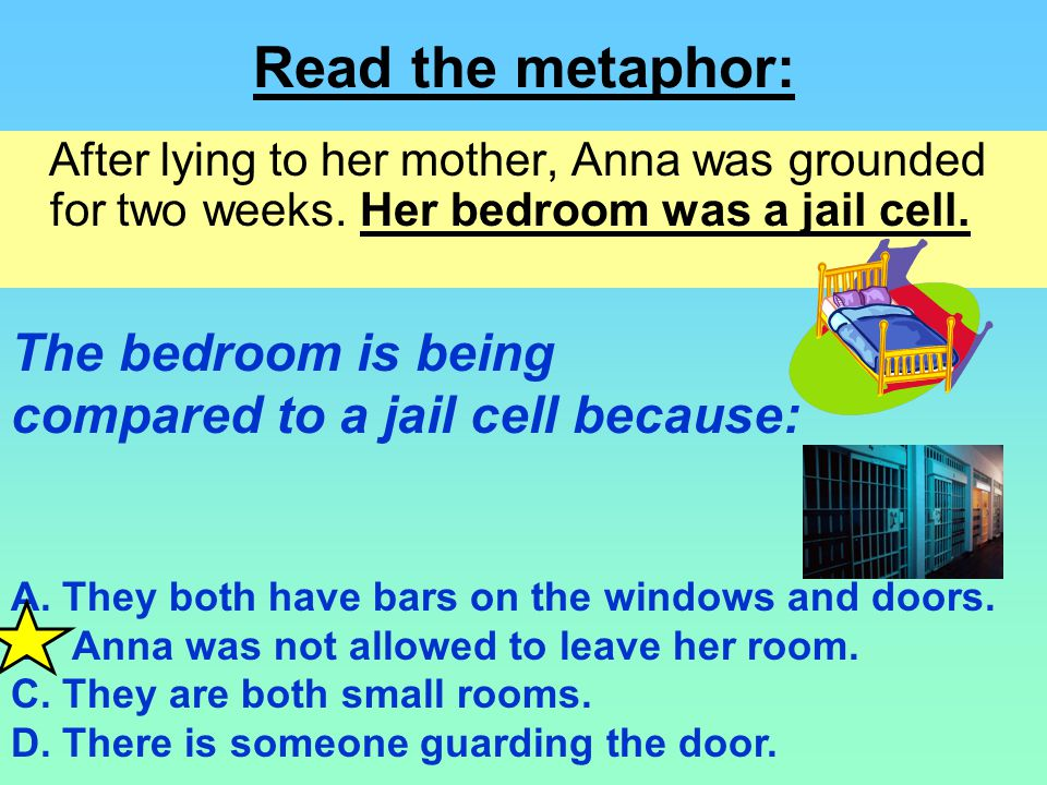 Read the metaphor: The bedroom is being
