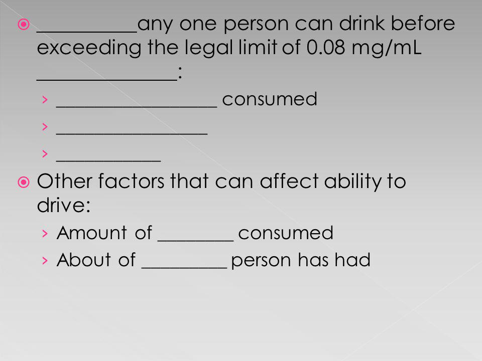 Other factors that can affect ability to drive: