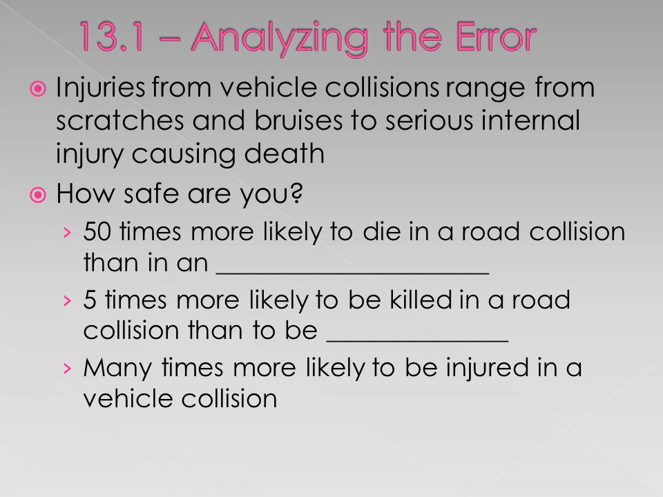 13.1 – Analyzing the Error Injuries from vehicle collisions range from scratches and bruises to serious internal injury causing death.