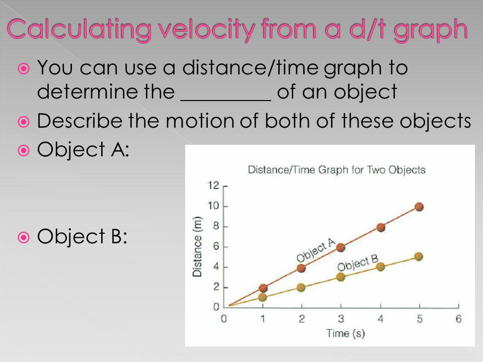 Calculating velocity from a d/t graph