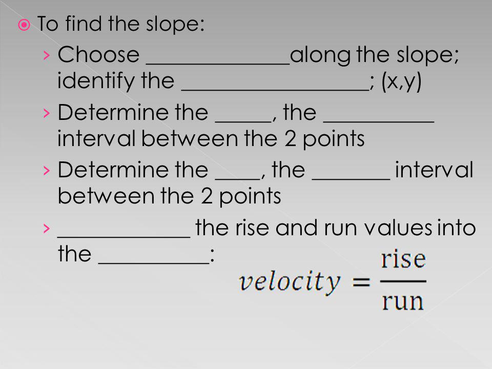 Determine the _____, the __________ interval between the 2 points