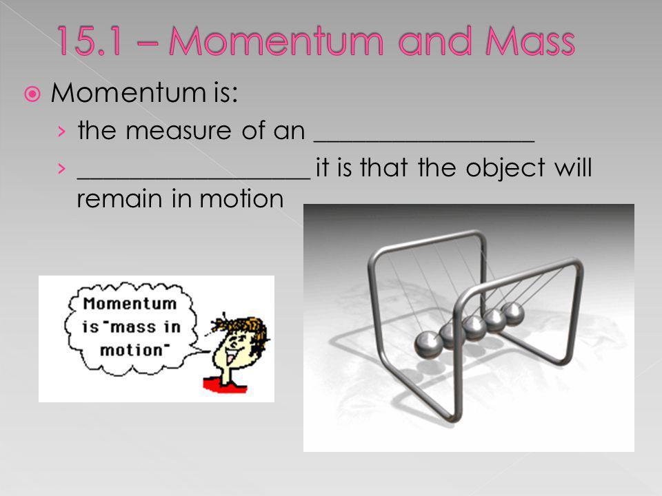 15.1 – Momentum and Mass Momentum is: