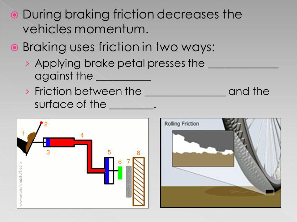 During braking friction decreases the vehicles momentum.