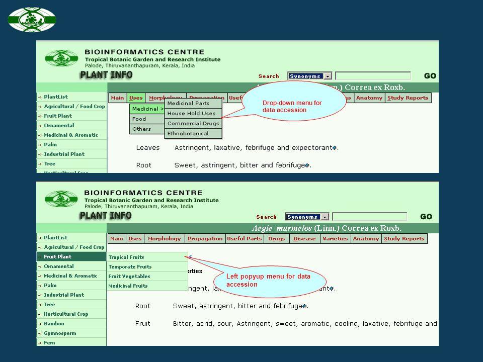 Left popyup menu for data accession