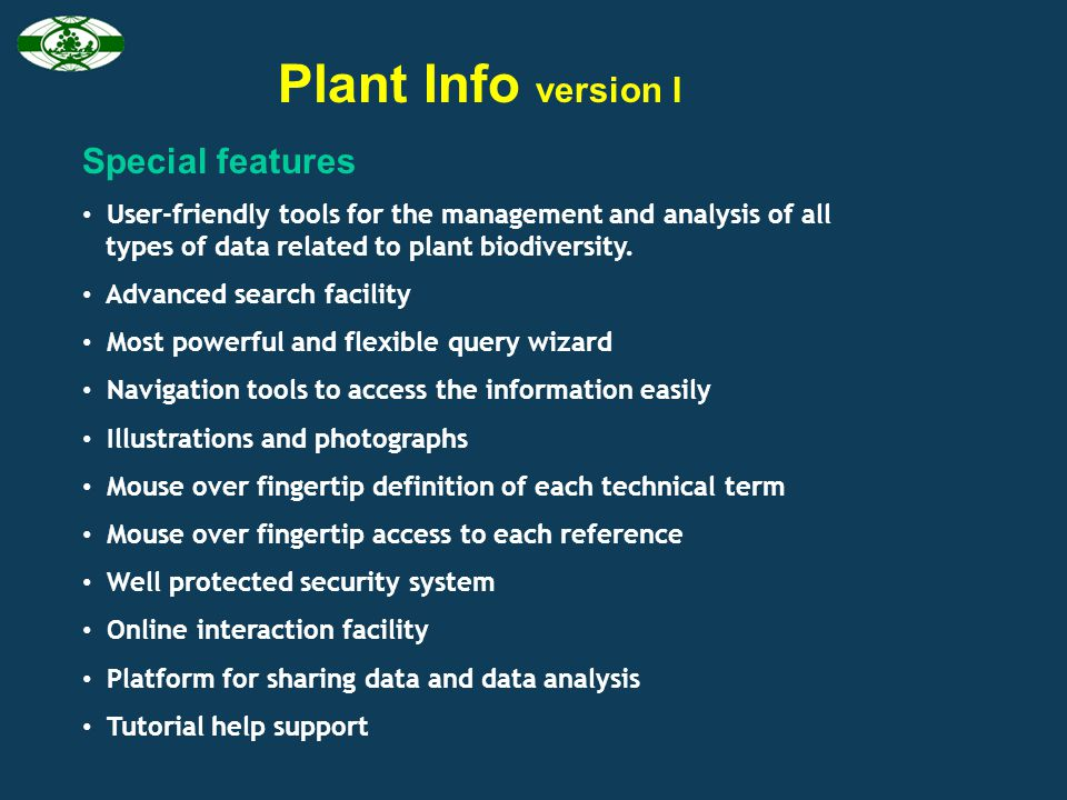 Plant Info version I Special features