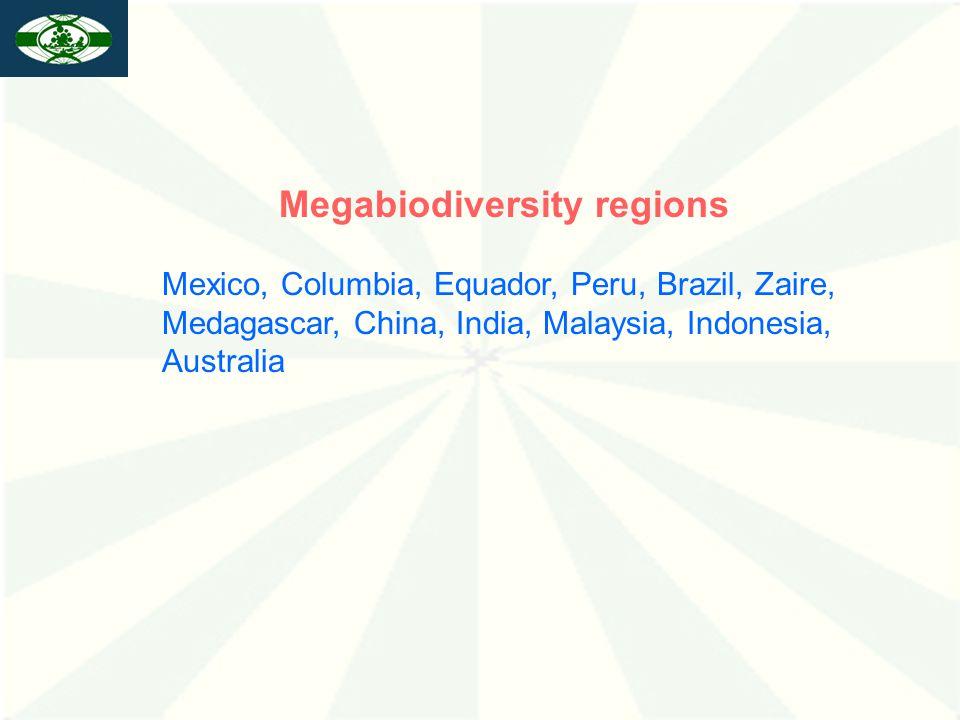 Megabiodiversity regions