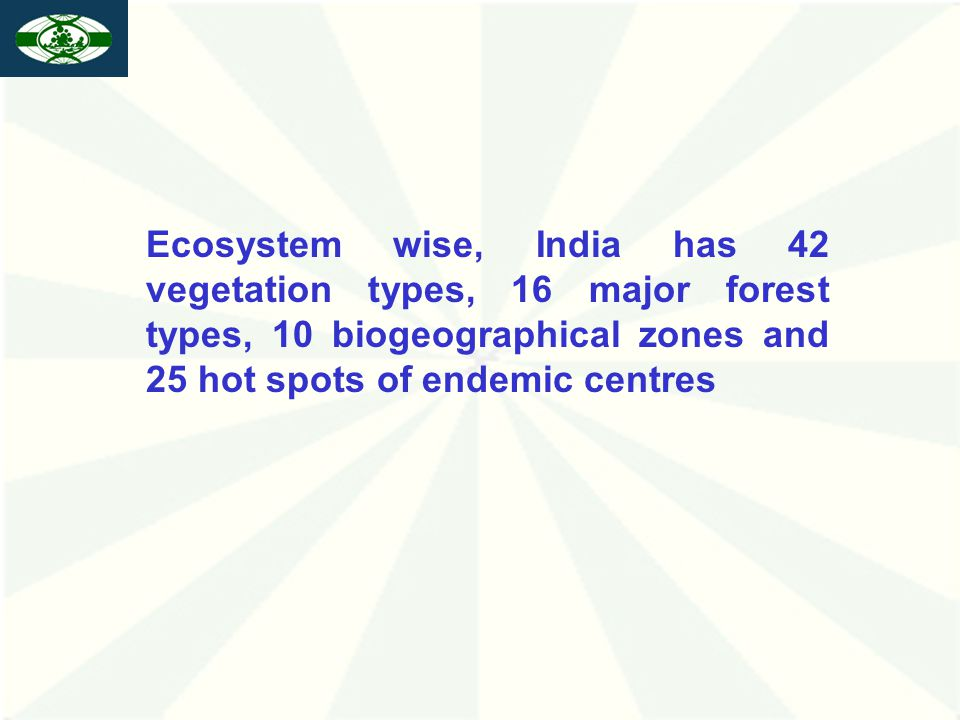 Ecosystem wise, India has 42 vegetation types, 16 major forest types, 10 biogeographical zones and 25 hot spots of endemic centres