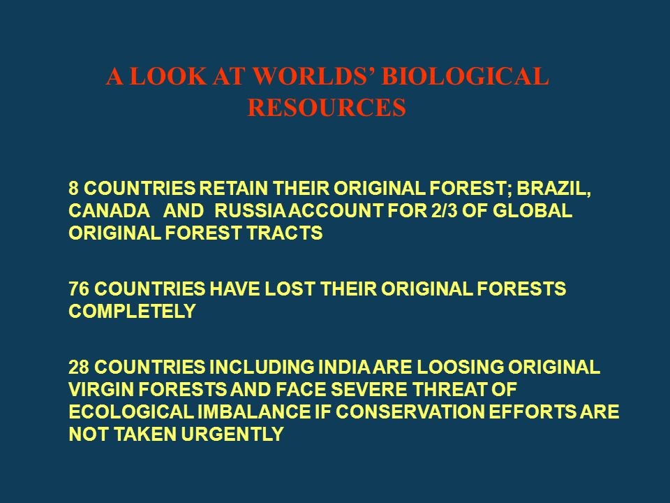 A LOOK AT WORLDS' BIOLOGICAL RESOURCES