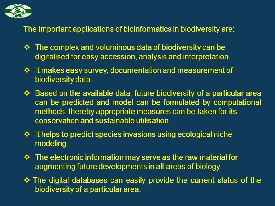 The important applications of bioinformatics in biodiversity are: