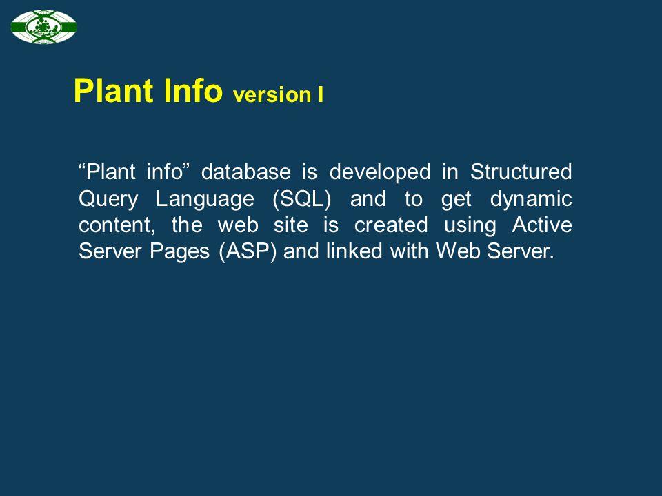 Plant Info version I