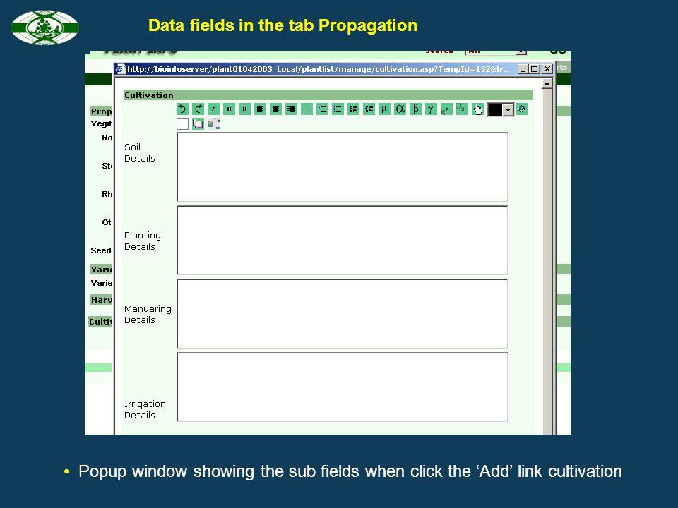 Data fields in the tab Propagation