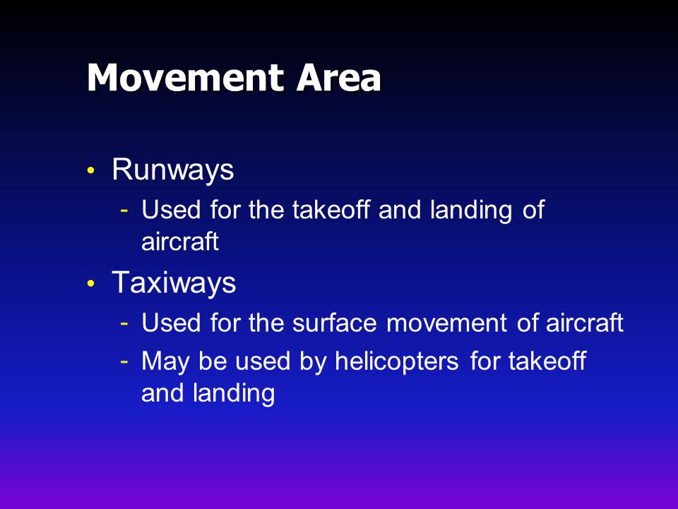 Movement Area Runways Taxiways