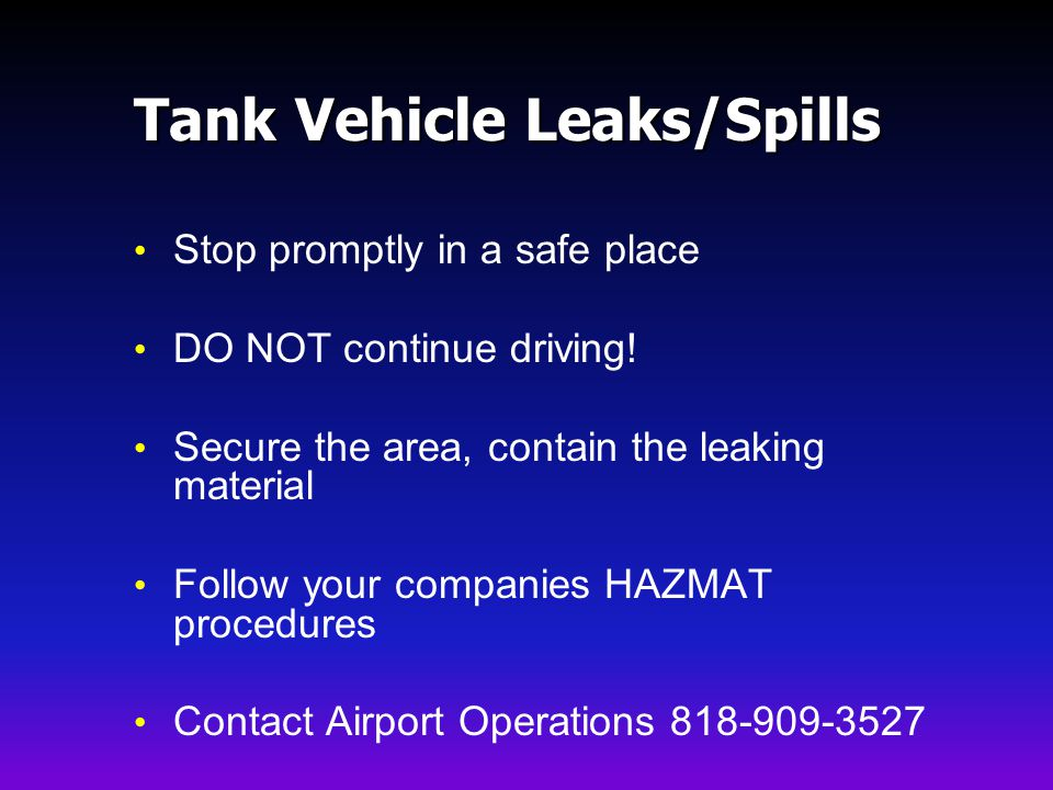 Tank Vehicle Leaks/Spills